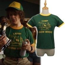 Stranger Things Dustin Cosplay Costume Short Sleeve T-shirt Baseball Hat все цены