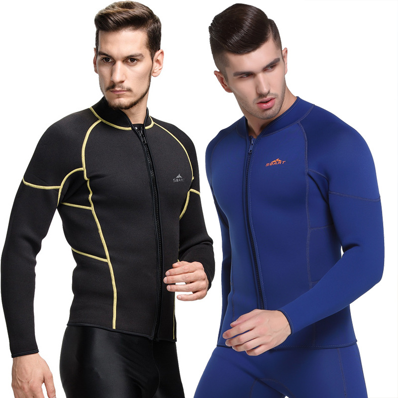 SBART 1PC 3MM Zip Up Wetsuit Neoprene Scuba Jacket For Men Diving Suit Swimsuit Long Sleeve Surfing Sailing Clothes 2018 DCO appliques raglan sleeve zip up jacket