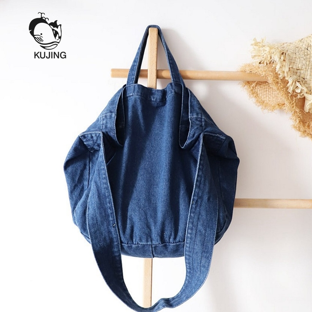 577d126ed4 KUJING Women s Handbags High Quality Canvas Literary Women s Shoulder  Messenger Bag Hot Fashion Denim Large Capacity