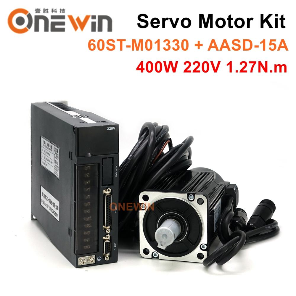 ONEWIN 400W AC servo motor kit 60ST-M01330 + AASD-15A driver diameter 60mm 220V 1.27NM 3000rpm