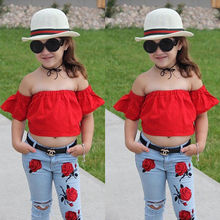 Pudcoco 2018 Kids Baby Girl Clothes Summer Off Shoulder Tops