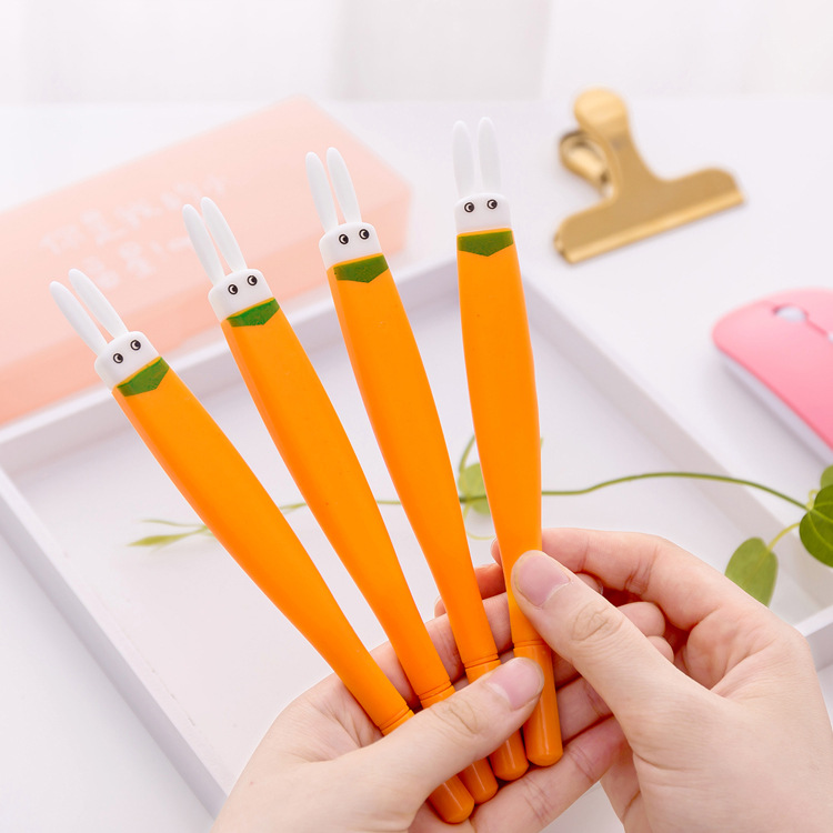 2pcs Cute Animal Bunny Rabbit Carrot Gel Pens Kawaii Black Ink 0 5mm Writing Pens For Shool Office Stationery Kids Gift 2018 New in Gel Pens from Office School Supplies