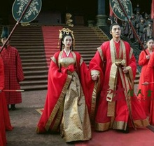 Red Couple Wedding Costume for Bride and Groom Hanfu for Newest TV Play Zui Ling Long Print Chiffon Drama Costume Hanfu