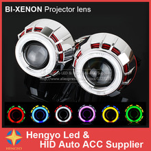 цена на 2.5'' CCFL Double Dual Angel Eyes Halo Lenses For the Headlights HID Bi-xenon Projector H1 H4 H7 9005 9006 Car Styling