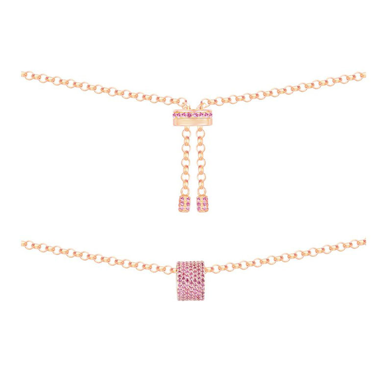 SLJELY 925 Sterling Silver Rose Gold Color Charm Pink Zircon Bague KALEIDOSCOPE Necklace Adjustable Chain Women