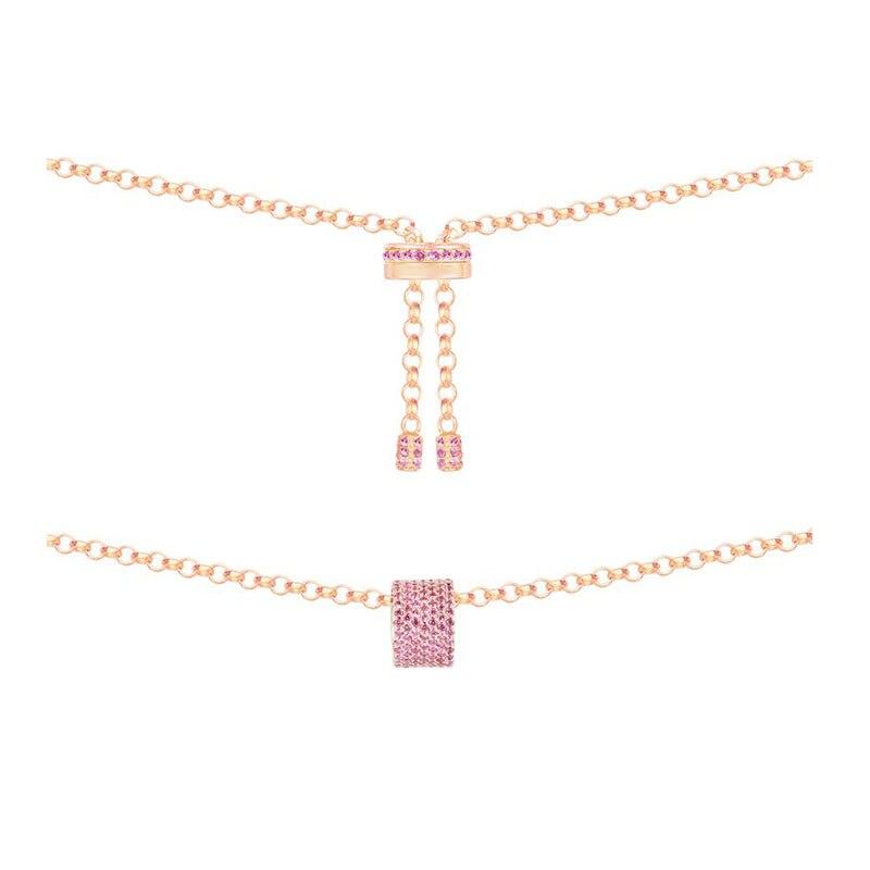 SLJELY rosa de plata esterlina 925 de Color oro encanto Zircon Rosa Bague caleidoscopio collar ajustable cadena mujeres Mónaco de la joyería-in Collares colgantes from Joyería y accesorios    1