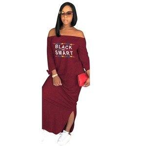 Image 1 - Africa Vestiti di Autunno Donne Sexy Casual Senza Spalline Side Split Manica Lunga Vestito lungo Allentato Lettera di stampa Più Il Formato S XXXL