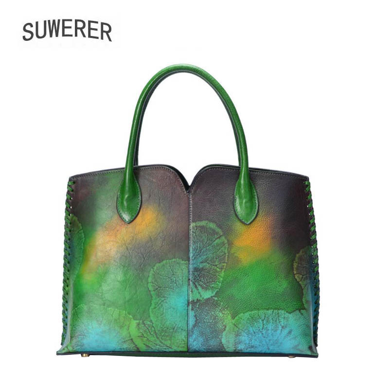 SUWERER New women leather handbag Superior cowhide Fashion printing big bags women Genuine Leather bag fashion leather tote bagSUWERER New women leather handbag Superior cowhide Fashion printing big bags women Genuine Leather bag fashion leather tote bag