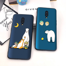 Cute Bear For Case Oneplus 6T 7 Black Soft Silicone Cover Boy for Funda Cases 1+6T Capa