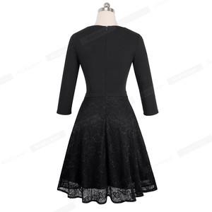 Image 2 - Nice forever Vintage Embroidery Flower Lace vestidos Sexy Hollow O Neck A Line Pinup Business Women Flare Dress A072