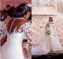Vintage Sheer Mermaid Wedding Dress Lace Appliques Long Sleeves Beading Custom Made Bridal Gowns Formal Plus Size