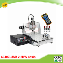 6040Z-USB 4 axis 2.2KW mini CNC machine with limit switch mach3 remote control CNC engraver duty free to RU