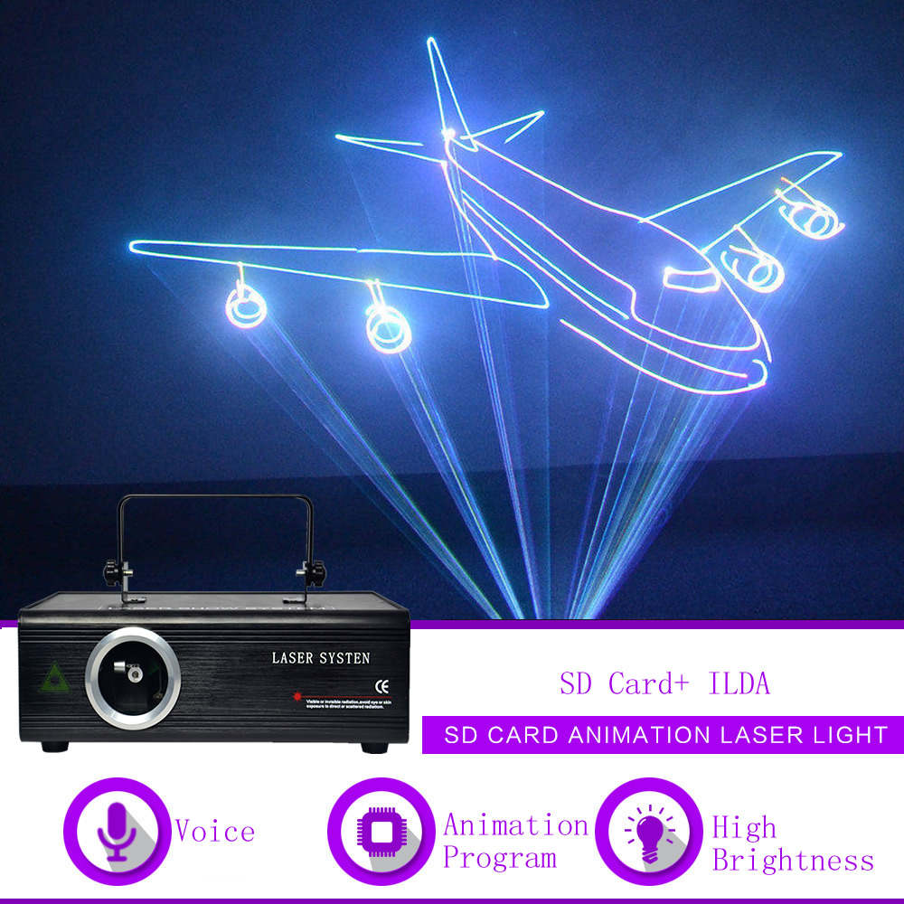 Sharelife 500mw 1W ILDA SD Card RGB Animation DMX Laser Projector Light Home Gig Party DJ Show Professional Stage Lighting F500