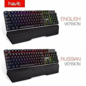 Image 5 - HAVIT mekanik klavye 104 tuşları mavi anahtarı kablolu oyun klavyesi RGB ışık Anti Ghosting rusça İngilizce klavye HV KB432L