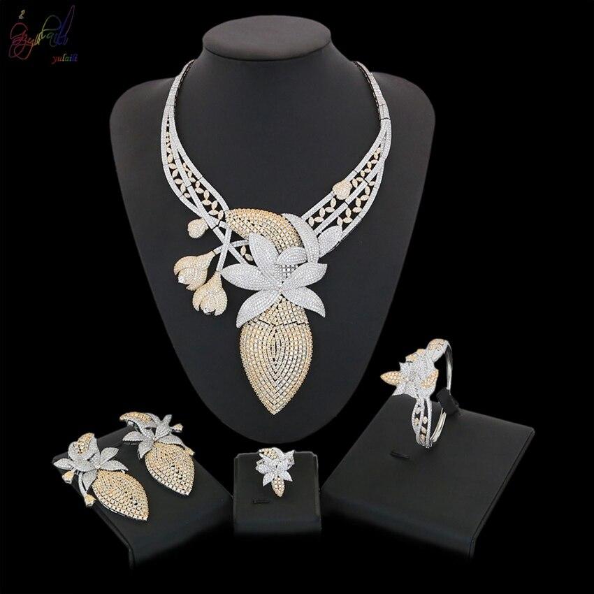 Yulaili Фирменная Новинка в европейском и американском стиле Для женщин Модные украшения кулон кристалл Цепочки и ожерелья браслет кольцо сер