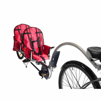Twins Bicycle Trailer With Connector, 20 Inch Air Wheel Steel Child Trailer For 2Kids, 2 Passenger Bike Trailer