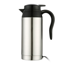 SEAAN 750ml 12/24V Silver Household Car Pot Water Heater Universal Stainless Steel Heating Mug Electric Travel Kettle dmwd 750ml car heating cup auto 12v 24v stainless steel electric kettle travel heated coffee hot water boiling thermal heater