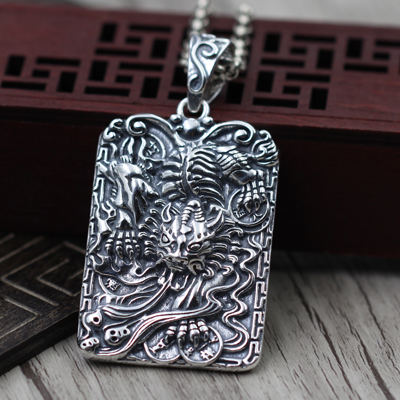 S925 Sterling Silver amulet lucky draw Silver Pendant bite money brave hand carved 46 character TagsS925 Sterling Silver amulet lucky draw Silver Pendant bite money brave hand carved 46 character Tags