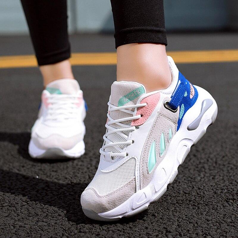 2e6539b588b61f Dames Décontractées Chaussures D'été Compensées À white Confort Souffle  Femmes 2019 red Feminino Tenis Nouveau ...