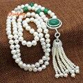 [Yinfeng] 100% Real de Agua Dulce Collar de Perlas Para Las Mujeres Joyería de La Boda Verde Ágata Estilo Suéter Largo Collar de La Joyería Hecha A Mano