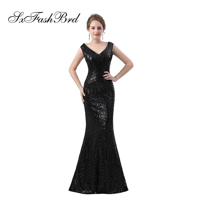 V Neck See Through Back Mermaid Elegant   Dress   Sequin Lace Long Formal Women   Evening     Dresses   Prom Party Robe Longue