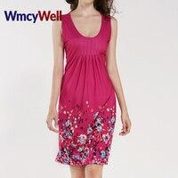 WmcyWell 2017 Fashion Floral Print Summer Mini Dress Women Sexy Casual Sleeveless Maxi Sundress Vestidos Slim Beach Style Plus