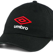 9349caf76c4bb Umbros Soccer Player Relaxed Fit Adjustable embroidery Black Football Dad  Hat Red Cap