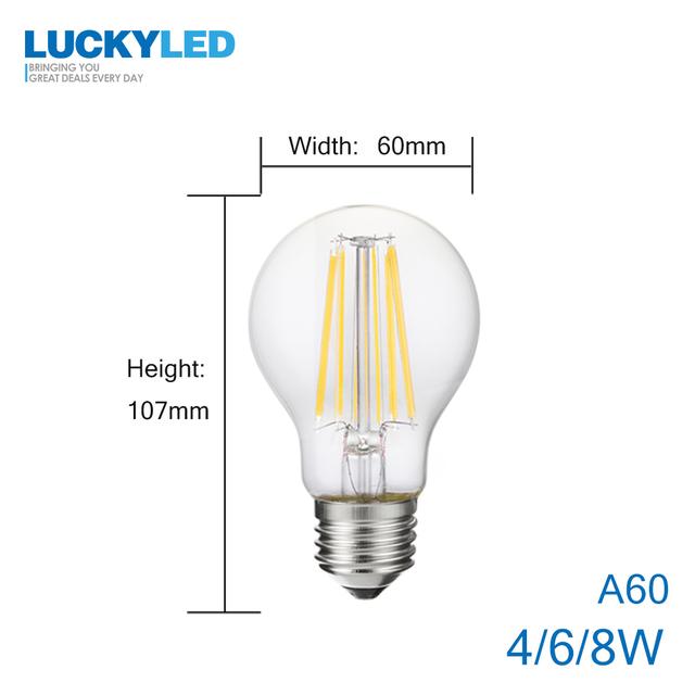 LUCKY Led Bulb E27 Dimmable 2w 4w 6w 8w E14 Led Candle Light Bulb 110v 220v Vintage Filament Lamp For Chandelier Lighting .