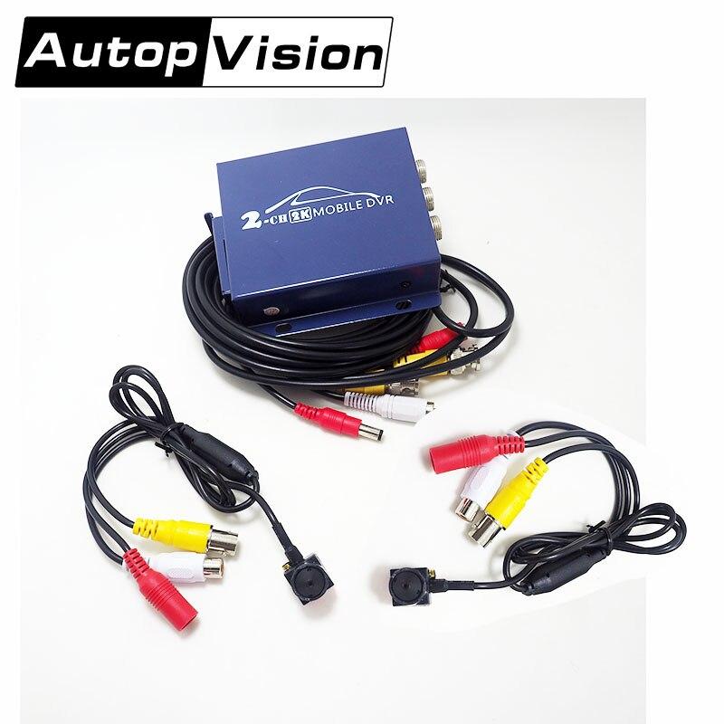 T310 2CH AHD DVR 2PCS AHD MINI 2MP 1080P Cameras Video Security Surveillance DIY Kit Car Rear View Driving Record