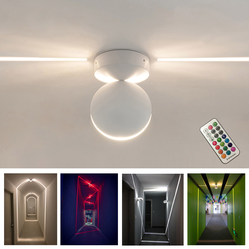 RGB Remote control 180 Degree LED Porch Lights Beam Angle Aluminum Surface Mounted Wall Lamp 85 265V Garden Lamp window lights