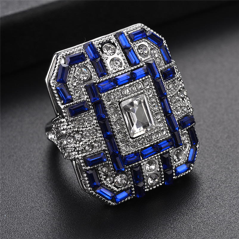 2018 New Arrival Fashion Women Crystal Silver Cubic Zirconia Band Ring Jewelry Gift Rings for women Ring Set J13#N