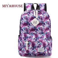 Miyahouse Fashion Canvas Backpack Women College Preppy School Bags For Teenagers Girls Large Capacity Colorful Printed