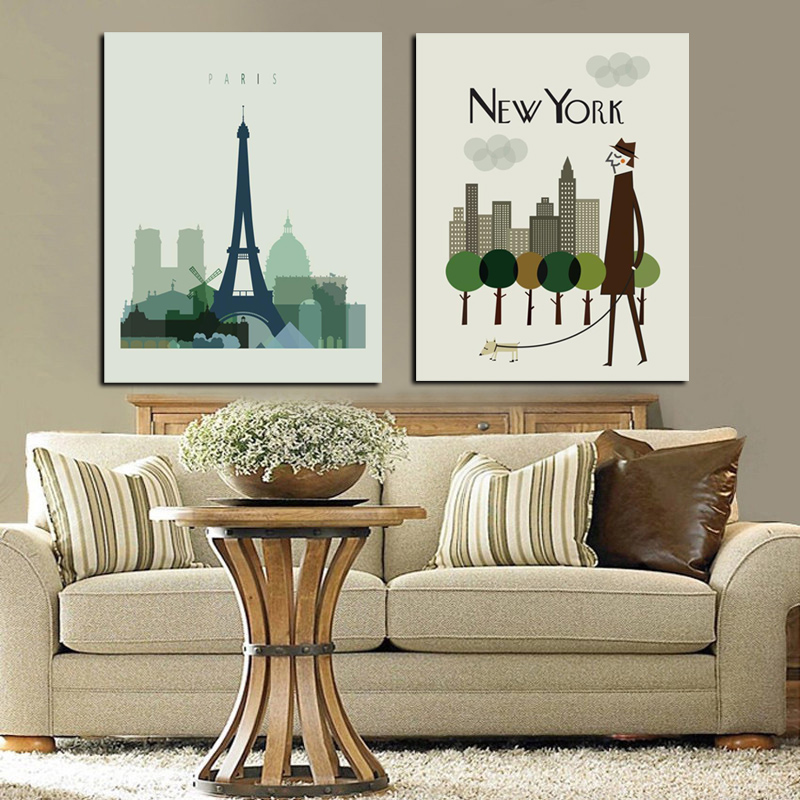 2Panel New York City Skyscraper Building Paris Eiffel Tower Landscape Canvas Painting HD Wall Picture for Living Room Sofa Decor ...
