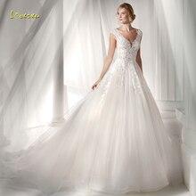 Loverxu Sexy Wedding Dress 2019 Cap Sleeve Court Train