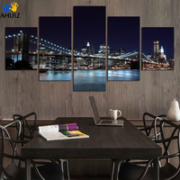NO FRAME 5 Piece Wall Art Beautiful City Night View Modern Picture Set Home Decor On