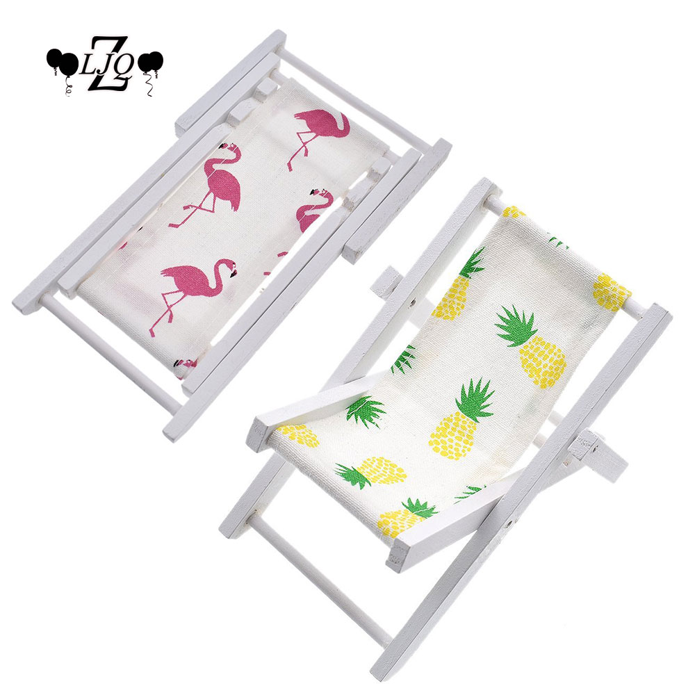ZLJQ Miniature Foldable Wooden flamingo Pineapple Beach Chair Chaise ...