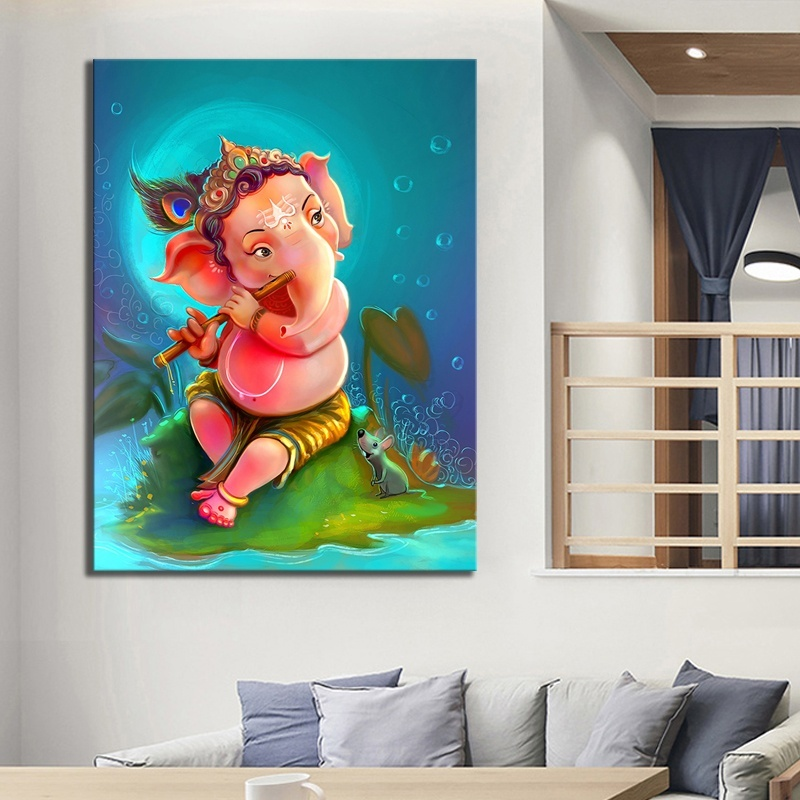 HD Picture Print Cartoon Kid Ganesha Artwork Drawing Painting on Canvas Wall Art for Home Decor 1