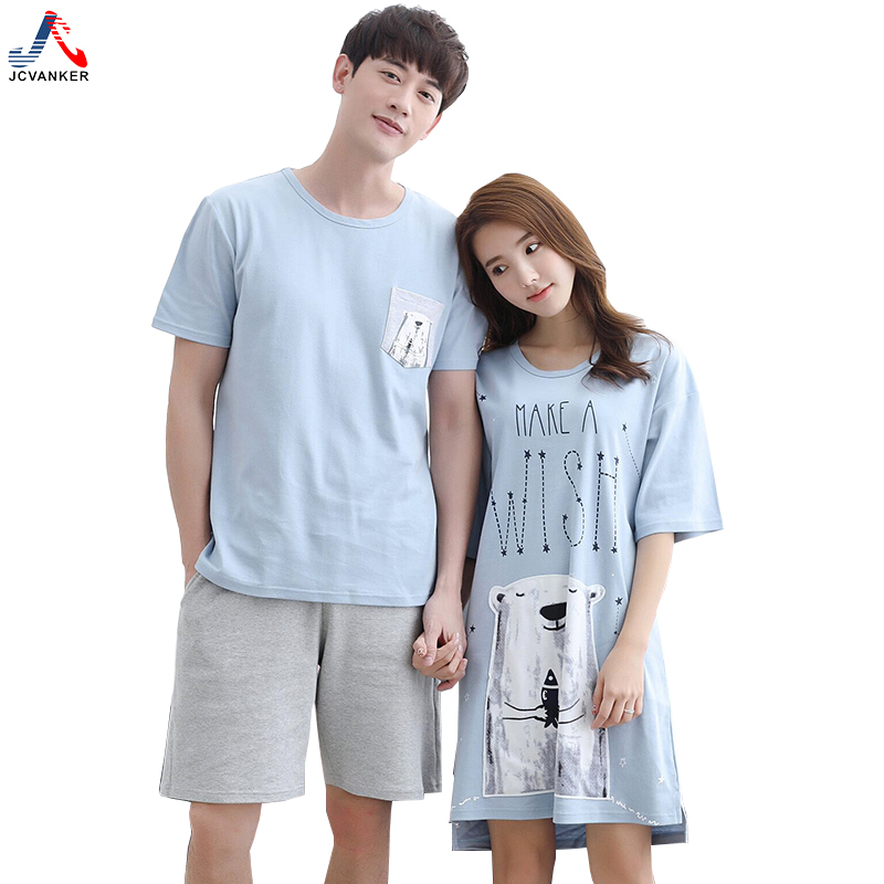 JCVANKER High Quality Couples Pyjamas Suit for Women Men Summer Blue Cute Bear Pure Cotton Sleepwear Nightwear Home Night Shirts