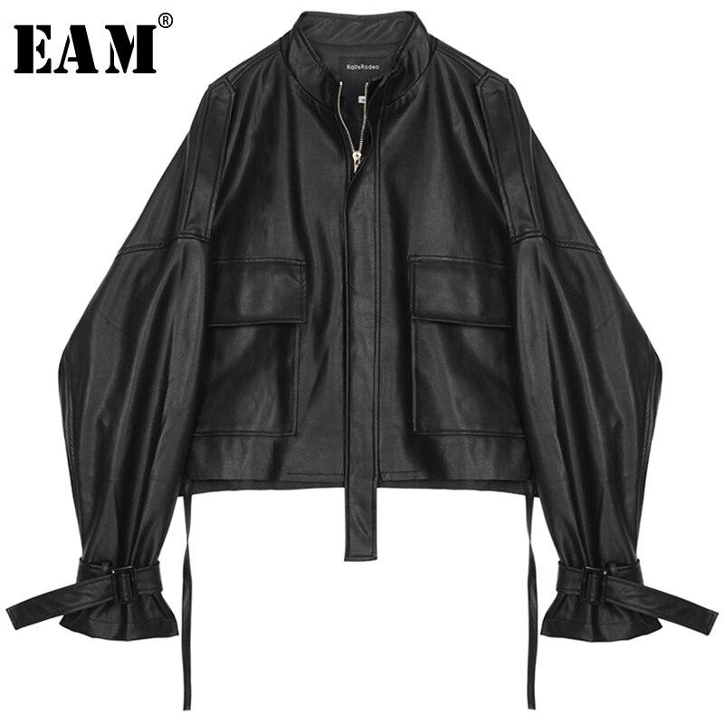 [EAM] 2020 New Spring Autumn Stand Collar Long Sleeve Drawstring Bandage Big Size Oversize Jacket Women Coat Fashion JY713