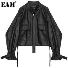 [EAM] 2020 New Spring Autumn Stand Collar Long Sleeve Drawstring Bandage Big Size Oversize
