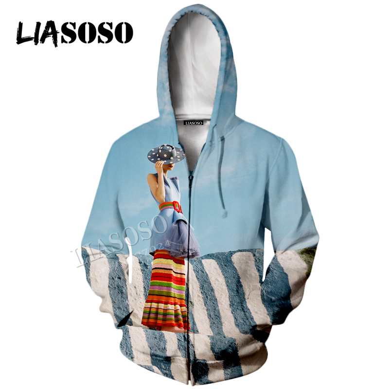 LIASOSO3D printing hooded zipper Hat coat neutral casual jacket long sleeves flower contrast color sweatshirt CX0010