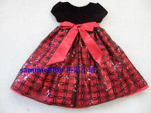 Red female child short sleeve wedding princess dress