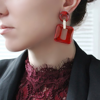 AENSOA Acrylic Large Hollow Out Drop Earring Fashion Geometric Dangle Earrings Ladies Party Jewelry for Women Wholesale brinco 3