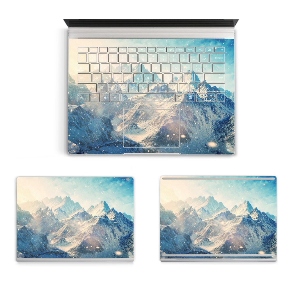 2017 Laptop Landscape Sticker For Micro Surface Book Top Bottom Vinyl Decal+US Keyboard Sticker Mountains Skin Logo Cut Out colorful laptop sticker decal skins for macbook 11 13 15 17 inch sticker for mac book rainbow logo free shipping new arrival