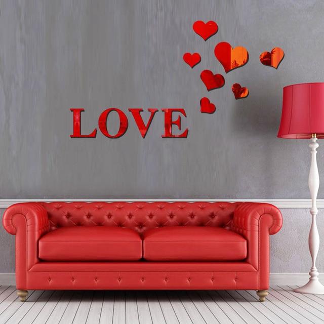la fundecor] 3d amour miroir stickers muraux décor à la maison ... - Decoration Stickers Muraux Adhesif