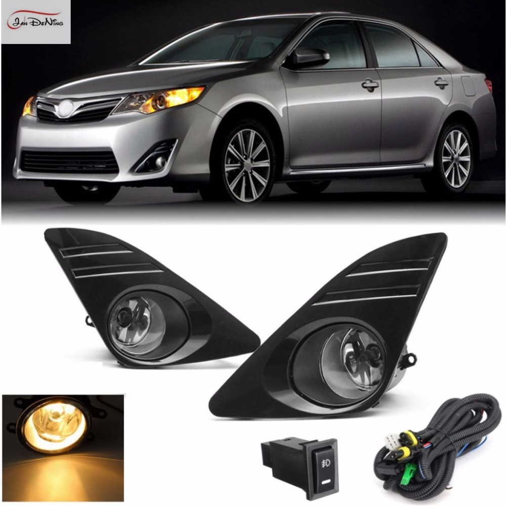JanDeNing Car Fog Lights  For 2012-2014 Toyota Camry (U.S.TYPE )Front Fog Lights Bumper Lamps Kit Switch Wiring (one Pair) special car trunk mats for toyota all models corolla camry rav4 auris prius yalis avensis 2014 accessories car styling auto