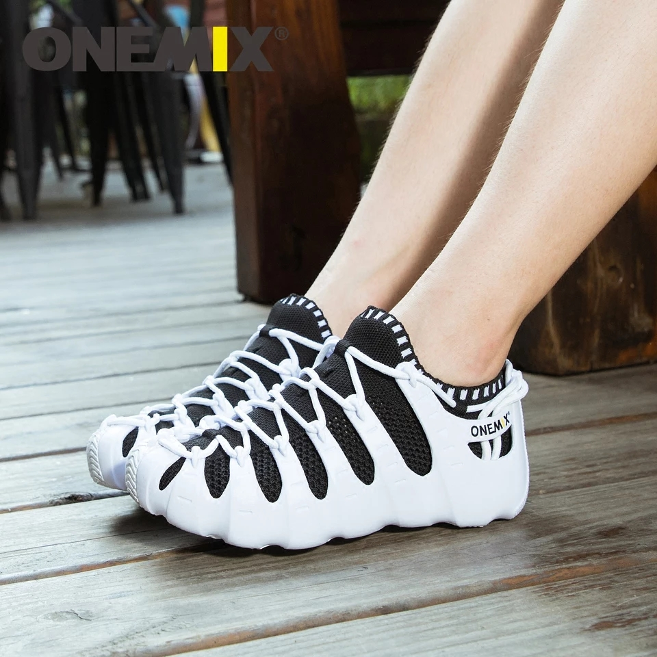 ONEMIX 2019 verano nuevos hombres mujeres Roma zapatos casuales sandalias transpirables calzado para caminar zapatillas ligero de secado rápido interior Yoga calcetín - 3