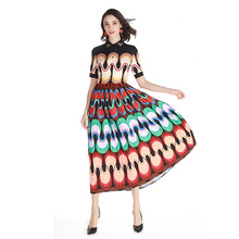 High Quality 2019 Spring Summer Women's Dress New Amazing Casual Print Applique Doll Collar Pleated Big Penny Ladies Beach Dress applique pleated night dress
