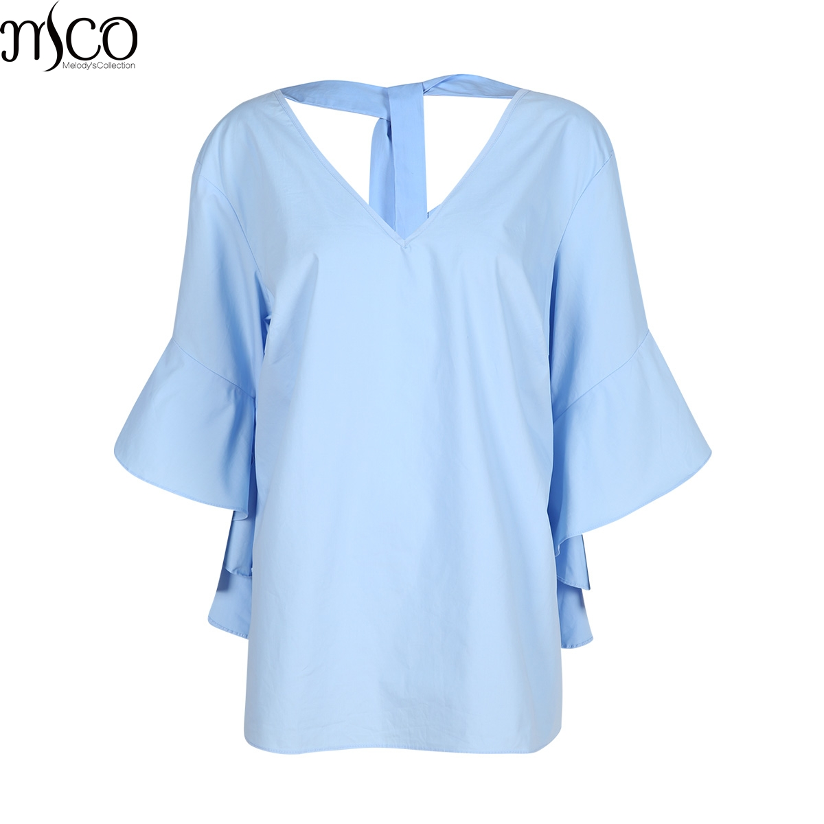 MCO Autumn Vintage Butterfly Sleeves Plus Size Blouse For Women Sexy Lace Up V Neck Big Size Top Oversized Simple Shirt 6xl 7xl