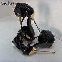 Sorbern пикантные 14/16/18 см каблук из металла замок и ключ Для женщин туфли лодочки открытый носок широкий ремешками на щиколотке на платформе бл